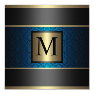 Monogram Damask Royal Blue, Black and Gold Card