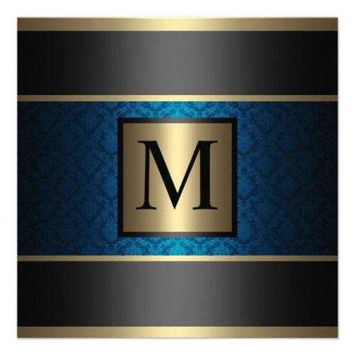 Monogram Damask Royal Blue, Black and Gold Custom Announcement