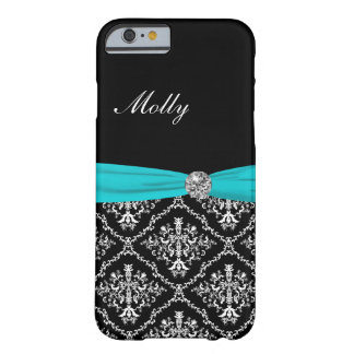 Monogram Damask Turquoise Bow Barely There iPhone 6 Case