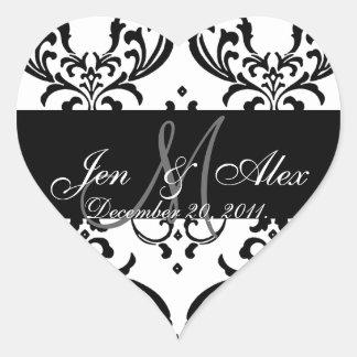 Monogram Damask Wedding Favour Sticker Heart Shape