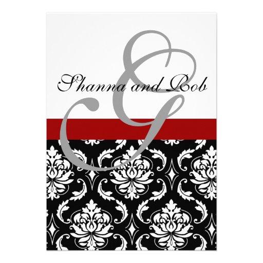 Monogram Damask Wedding Invitation 5 x 7 Inches