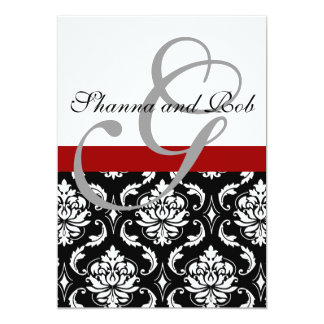 Monogram Damask Wedding Invitation 5 x 7 Inches