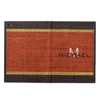 Monogram Dark Orange Burlap Linen Rustic Jute Powis iPad Air 2 Case