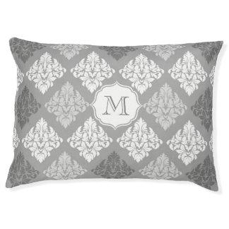 Monogram dog bed Elegant grey damask pattern