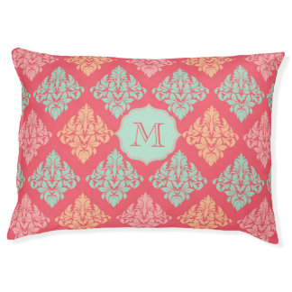 Monogram dog bed Pink and mint green damask