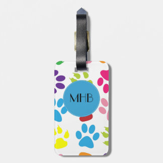 Monogram - Dog Paws, Paw-prints - Red Blue Green Luggage Tag