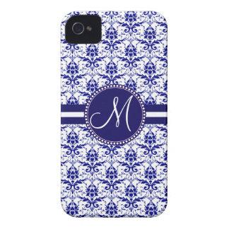 Monogram Elegant Blue and White Damask Pattern iPhone 4 Case-Mate Cases