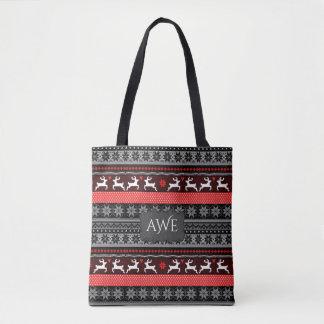 Monogram Fair Isle Pattern Tote Bag
