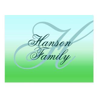 Monogram (Family) Sea-Green Postcard