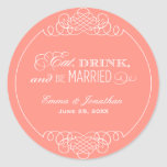 Monogram Favour Sticker   Eat. Drink & Be Married