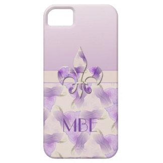 Monogram Fleur de Lis and Violets iPhone 5 Covers
