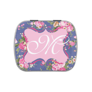 Monogram floral candy tin
