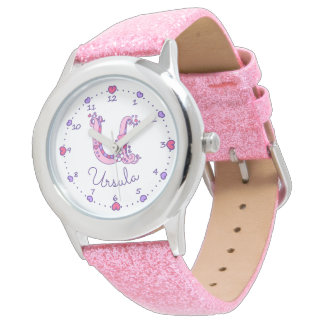 Monogram girls letter U art Ursula name watch