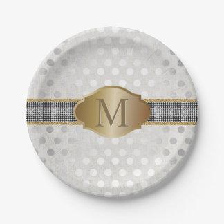 Monogram Glitter Belt Silver Dots Modern Wedding 7 Inch Paper Plate