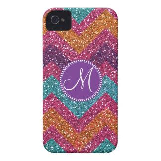 Monogram Glitter Chevron Pink Purple Orange Teal iPhone 4 Case-Mate Cases