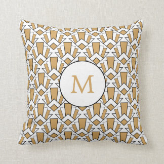 Monogram Gold, Black, White Art Deco Fan Flowers Cushion
