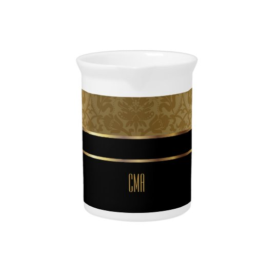 Monogram Gold Damask and Black Beverage Pitchers