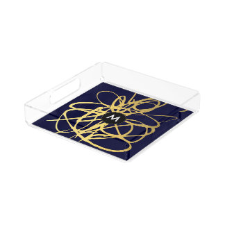 Monogram Gold Navy Brushstrokes Perfume Tray