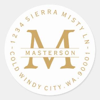 Monogram Gold Text Circular Return Address Label
