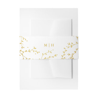 Monogram Gold Vines & Leaves Garden Envelope Bands Invitation Belly Band