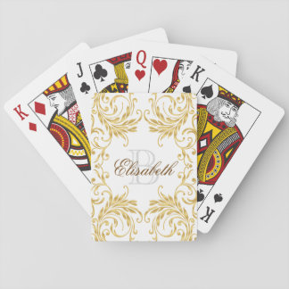 Monogram Golden Damask on White Playing Cards