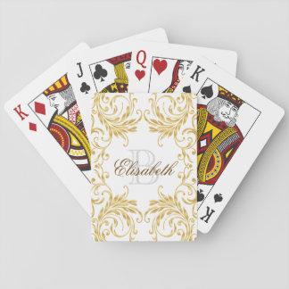 Monogram Golden Damask on White Poker Deck