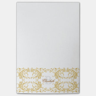 Monogram Golden Damask Post-it Notes