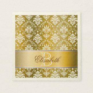Monogram Golden/Yellow and White Damask Disposable Serviette