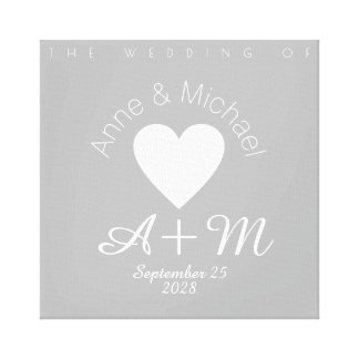 monogram gray love wedding decor canvas print