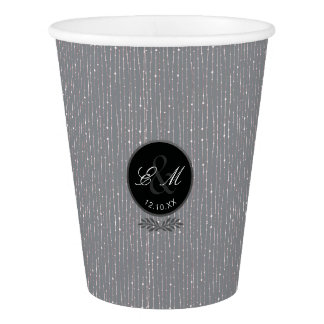 Monogram Gray String Of Lights Wedding Paper Cup