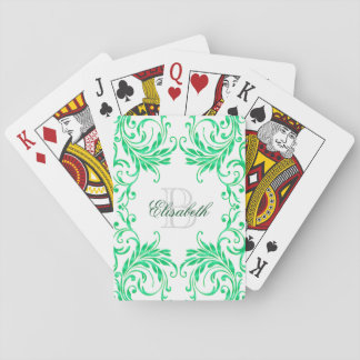Monogram Green Damask on White Playing Cards