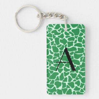 Monogram green giraffe print acrylic key chain