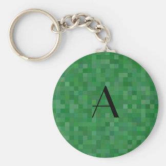 Monogram green mosaic squares keychains