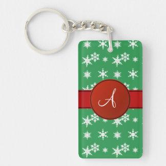Monogram green snowflakes red circle acrylic keychain