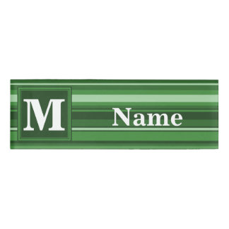 Monogram green stripes name tag