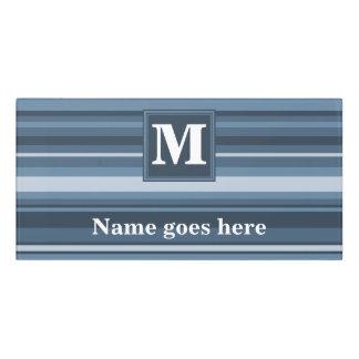 Monogram grey-blue stripes door sign