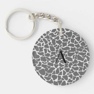 Monogram grey giraffe print acrylic key chains