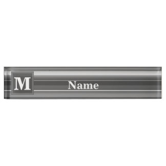 Monogram grey stripes desk name plate