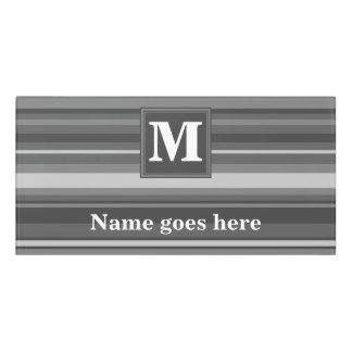 Monogram grey stripes door sign