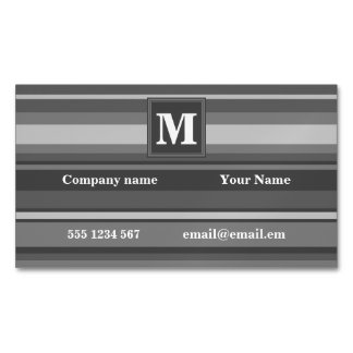Monogram grey stripes magnetic business card