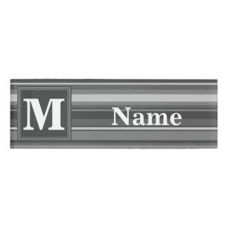 Monogram grey stripes name tag