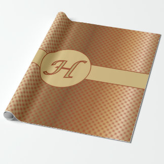 Monogram H Golden Copper Red Dots Wrap Paper Wrapping Paper