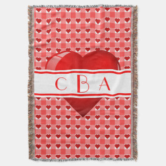 Monogram Hearts and Red Gingham Throw Blanket