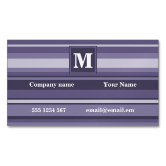 Monogram heather purple stripes magnetic business card