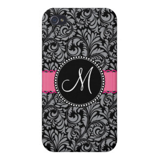 Monogram Initial Black Gray Damask Floral Pattern iPhone 4/4S Covers