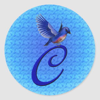 Monogram Initial C Elegant Bluebird Sticker