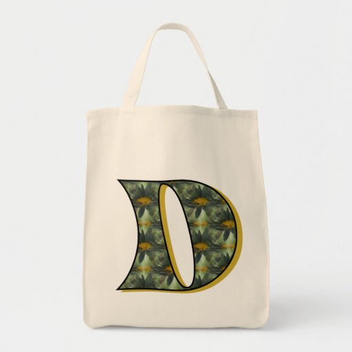 Monogram Initial D Black Daisies Tote Bag