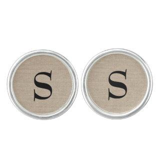 Monogram initial faux linen burlap hipster vintage cufflinks