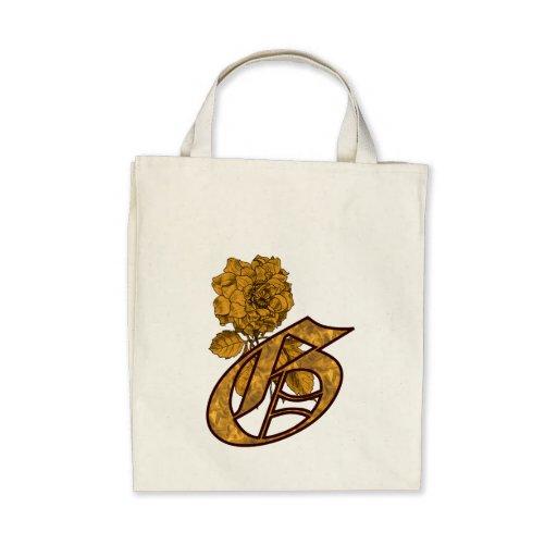 Monogram Initial G Gold Peony Tote Bag