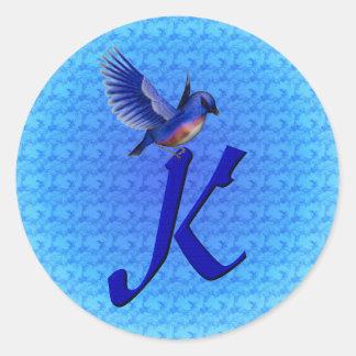 Monogram Initial K Elegant Bluebird Sticker